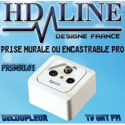HD-LINE prise murale PRO TV SAT FM Découpleur Encastré