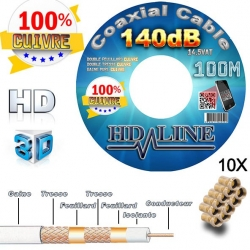 HD-LINE câble coaxial pro 140dB TNT & antenne parabole