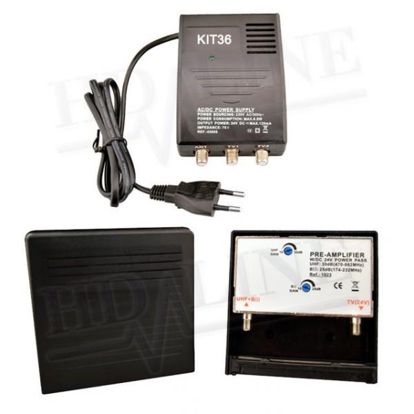 hd kit36 d 39 amplification antenne uhf vhf fm amplificateur. Black Bedroom Furniture Sets. Home Design Ideas