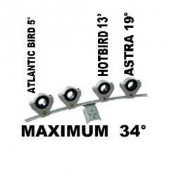 Fixation Support 4 LNB - maximum 34 degrés d'écart
