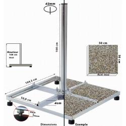 CHASSIS : 4 Traverses de 50x50cm Hauteur 1m - Support parabole pour terrasse & fixation balcon