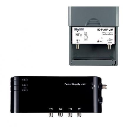 HD-LINE  4/1 TV amplificateur + alimentation pour antenne terrestre TNT / Kit préamplificateur