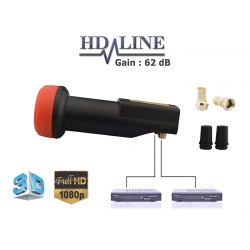 HD-LINE BLACK PREMIUM LNB TWIN 62db!! 0.1dB!! 1 TETE PARABOLE 2 SORTIES - VERSION LONGUE
