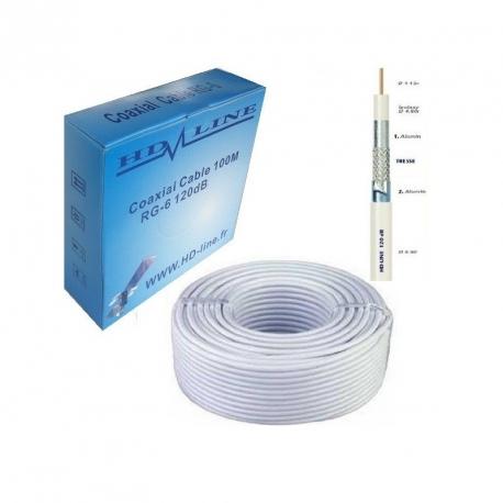 Hd line c ble coaxial pro 120db tnt antenne parabole hdline - Cable antenne tnt ...